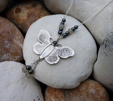 Sterling silver butterfly necklace with haemetite and Swarovski crystal grey opals